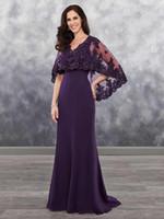 Plus Size Mãe da púrpura Noiva das Trevas Vestidos chiffon com Bolero Applique brilhando sequins Lace Chiffon Wedding Dress Visitante