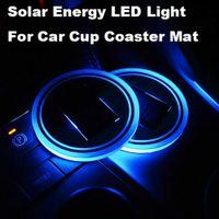 LED Solar Car Puchar Mata Holder Pad Coaster Light Akcesoria Dekoracja Wnętrz Atmosfera dla BMW Jeep Benz VW Audi Forda Chevrolet