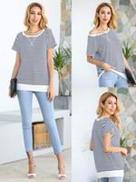 إمرأة ليوبارد تي شيرت ملابس للسيدات الصيف ملابس الربيع السيدات بلايز تي شيرت ليوبارد التمويه الشريط الرقبة الطاقم أعلى المنزل كوم FFA3757-1