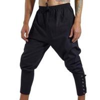 7ee33c339679 New Arrival. Pirate Horseman Cosplay Costume Loose Pants Men Halloween  Medieval Renaissance Viking Black Navigator Leg Bandage Trouser