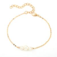 Imitação requintada pulseira de pérola prata / ouro braceletes pulseira pulseira jóias mulheres presentes