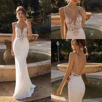 2020 Sexy Sirena Berta Vestidos de novia Backless Beach Lace Brohemian Plus Tize Robes de Mariée