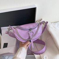سلسلة الأزياء فاني حزمة الموز الأرجواني حقيبة الخصر حزام سير جديد حقيبة المرأة الخصر حزمة PU جلد الصدر البطن