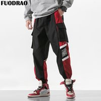 FUODRAO Hip Hop Streetwear Farbe Patchwork Taschen Cargo Pants Männer Harajuku Männer Jogger Knöchellangen Pluderhosen Bottoms K171