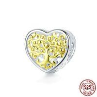 Chine Vrai 925 Sterling Sterling Silver Bead Arbre de vie Charmes cardiaques Fit Bracelet Original Pendentif Collier Bricolage Bracelet Bracelet Faisant Joyau