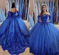 Royal Blue Princess Quinceanera платья 2020 кружевной аппликации из бисера возлюбленные на шнуровке Корсет задние Сладкие 16 платьев платья выпускного вечера