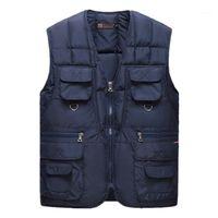 Fly Dış Giyim Yelek Kış Tasarımcı Cep Artı boyutu Kalın Kasetli Aşağı Yelekler Mens Casual Giyim Yaşlılar Fermuar