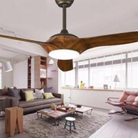 52 pouces LED Brun Blanc Noir ventilateurs de plafond avec des lumières à distance salon chambre de contrôle maison plafond Lampe ventilateur