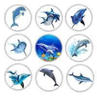 9 colori vetro acrilico Dolphin GingerSnaps pulsante Charms con base in metallo rame misura 18mm Snap gioielli Vn-2001