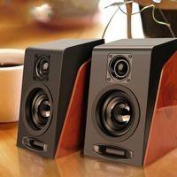 Usb câblé en bois en bois haut-parleurs de haut-parleur de l'ordinateur Basse Stéréo musique lecteur Subwoofer Boîte sonore pour téléphones PC