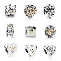 INS MOQ 20pcs Silver Key Цветок Любовь Корона Висячие бисера Подвески подходят Оригинальный Пандора браслет ювелирных изделий DIY B11