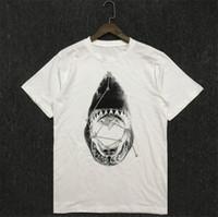 유명한 남성 T 셔츠 여름 상어 인쇄 고품질 면화 커플 반팔 남자 여자 티셔츠 사이즈 S-2XL