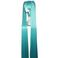النساء طويل مستقيم الأزرق باروكات كاملة مع الدوي 2 ذيل الحصان تأثيري شعر للVocaloid تأثيري تأثيري Miku Hatsune الشكل
