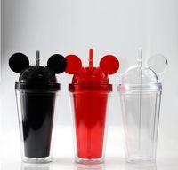 8Colors 15oz tumbler acrílico com tampa de cúpula mais palha dupla parede clara copos plásticos com orelha rato reutilizável bebida cute copo
