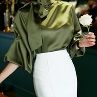 party office ladies shirt autumn solid vintage satin lantern...