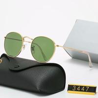 Classic Design Marca rotonda occhiali da sole UV400 Eyewear metallo Gold Frame Squalifiche occhiali da sole a specchio delle donne degli uomini di vetro dell'obiettivo con scatola