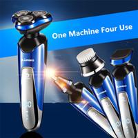 MARSKE Electric Shaver 4 in 1 Rotary Tre lame multi funzionale uomo caricato Cura del viso Naso trimmer uomo 3D intelligente lavaggio rasoio
