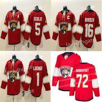 Florida Panthers Hockey 72 Sergei récent Bobrovsky 16 Aleksander Barkov 1 Roberto Luongo 5 Aaron Ekblad Rouge Blanc Hockey Maillots