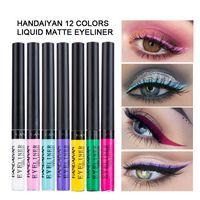 Hanveiyan Sıvı Mat Eyeliner Makyaj Su Geçirmez Easywear Renkli Göz Kalemi Pen Profesyonel Festivali Maquiagem Q171