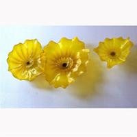 Довольно желтый Цветные стекла Искусство Планшеты Современная Рука выдувное муранского стекла Настенные светильники Home Decor Glass Wall Art Plate