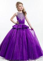 레이첼 앨런 퍼플 볼 가운 공주 소녀의 미인 대회 드레스 반짝이 골치 아픈 결정 지퍼로 돌아 가기 귀여운 소녀 꽃 소녀 드레스