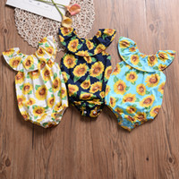 Ins Baby Mädchen Spielanzug Sunflower Printed Sleeveless Kids Princess Jumpsuits Summer Boutique Neu