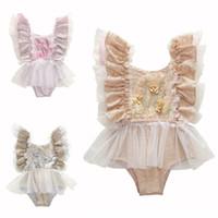 الرضع طفلة شبكة بذلة الصيف الأميرة تطريز زهري عادية أكمام الرباط أطفال Bodysuit فتاة الملابس مصمم