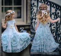 2020 Halter Cuello Baby Blue Flowen Girl Vestidos para Wed Special Occional Ruffled Floor Longor Party Party Vestidos de comunión para niños pequeños