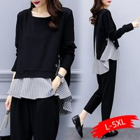 Black Two Piece Set Women Striped Splicing Long Sleeve Tops ...