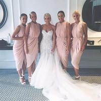 2020 Juwelenhalsmantel Kurzer Brautjungfer Kleider Günstige Unter 100 Afrikanische Plus Größe Ehre von Maid für Hochzeitsfeier Vestidos de Brautjungfern