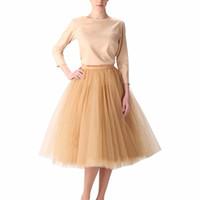 Vintage Gold Puffy Frauen Tüll Röcke Knielangen Weiblichen Tüll Rock Plus Größe Midi Tutu Erwachsene Rock Hohe Qualität Faldas