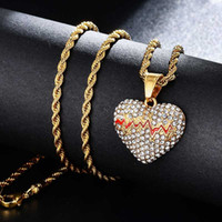 Hip Hop Iced Out Bling Broken Heart Stainess Steel Gold Color Pendants & Necklaces For Men Women Jewelry