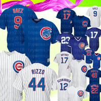Chicago 9 Cubs Maillot Javier Baez 44 Anthony Rizzo 17 Kris Bryant 23 Ryne Sandberg 12 Kyle Schwarber Majestic Suppléant Royal Baseball