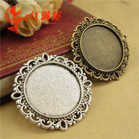 A4159 37*37MM Fit 25MM Antique Bronze round cameo setting, t...