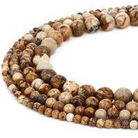 Perlas de piedra natural Imagen redonda Jasper Piedra preciosa Perlas sueltas para mujeres Pulsera DIY Joyería Fabricación 1 Strand 4 6 8 10mm