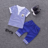good quality Summer Baby Boys Clothing Set Kids Striped Tops...