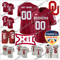 Custom Oklahoma Sooners Rosso Bianco Qualsiasi Nome Numero 2019 New Brand Stitched # 6 Baker Mayfield NCAA College Football Jersey S-3XL