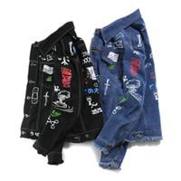 스트리트 인쇄 남성 힙합 데님 재킷 캐주얼 슬림핏 청바지 재킷 가을 남성 폭격기 재킷 코트 의류 사이즈 M-2XL