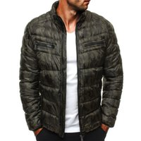 Parkas Jackets Men Zipper Fique Collar 19ss Windbreaker Aqueça Coats Inverno de Down Camouflage