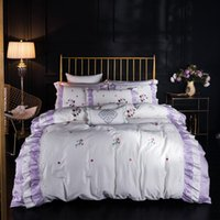 luxury Top Embroidery V Letter White Goddess Bedding Cover C...