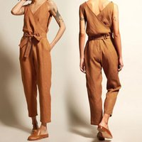 New spring summer jumpsuit women solid loose rompers body su...