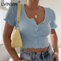 Женская футболка LVINMW SEXY Круглая шея оборками рукава одиночная грудящая конфета Candy Color Cross Top 2021 летние женщины ребра вязать повседневную модную улицу