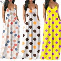 Vestido de férias mulheres Colorful Polka Dot Impresso V Neck vestidos de verão das senhoras Sling mangas vestido de festa longo Maxi Praia Casual