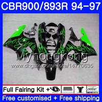 Corpo per HONDA CBR893 RR CBR900RR Fiamme verdi calde CBR893RR 94 95 96 97 260HM.11 CBR 893 CBR900 RR CBR 893RR 1994 1995 1996 1997 Kit carenatura
