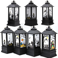 Halloween Vintage Castle Light Pumpkins / Ghost Hand / Skeleton / Witch Lámpara LED Colgando LED Lantern Flame Light Enciende las luces de las velas para el Festival Party