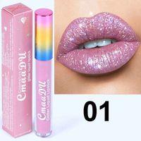 CmaaDu Labios Maquillaje 6 colores Glitter Flip Diamond Brillo de labios Velvet Matte Lip Tint Impermeable Duradero Shimmer Lápiz labial líquido