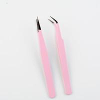2020 heißen Verkauf-neue 2PCS Edelstahl-Rosa Gerade + Biegung Tweezer für Wimpernverlängerung Nail Art Nippers