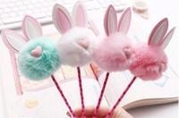 Multi coniglio ripieno orecchie 0.5mm nero Refill Studenti Penne di gel peluche del fumetto Gel-Pen di scrittura Forniture Ufficio Scolastico HA402
