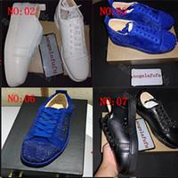 YENI Tasarımcı Sneakers Kırmızı Alt ayakkabı Düşük Kesim Süet spike Lüks Ayakkabı Erkekler ve Kadınlar Için Ayakkabı Parti Düğün kristal Deri Sneakers