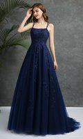 Navy Blue A Line Lace Prom Evening Dresses With Straps Appli...